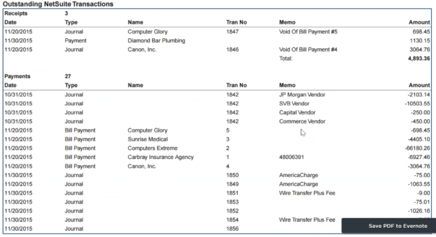 OUtstanding Netsuite Transactions ABR